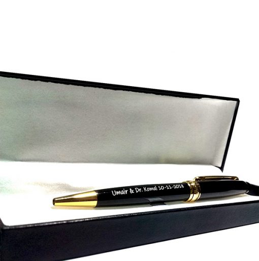 Customizable Jitter Black Pen with name and date printed is best online gift & present