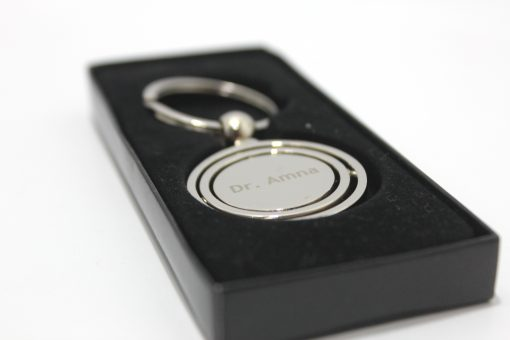 Customised Globe Metallic Keychainin luxury box is best gift to give