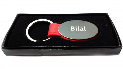 Red Strap Metallic Keychain packed in luxury box is best birthday gift, anniversary gift, wedding gift or gift for your husband