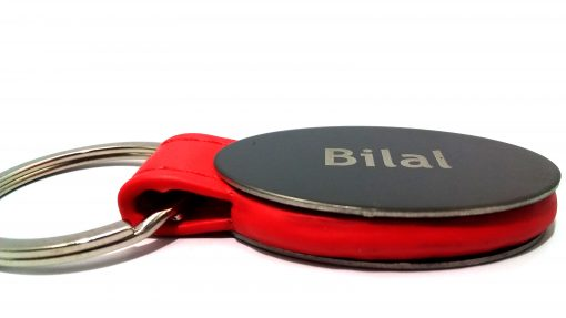 Personalized Red Strap Metallic Keychain with name printed on metallic plate is best gift to give your loved ones