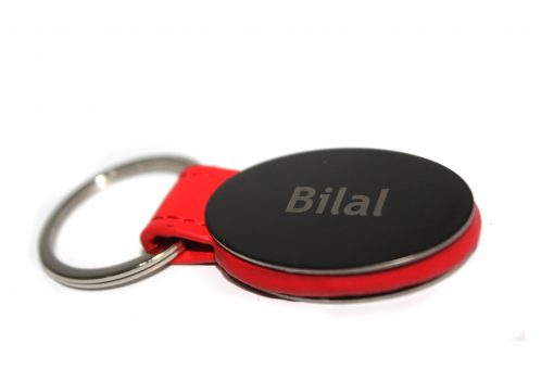 Customised Red Strap Metallic Keychain with name is best gift for birthday, anniversary, wedding or promotion