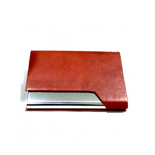 Custom One Sided Leather Card holder with name printed on metal is best gift to give on birthday, anniversary or wedding