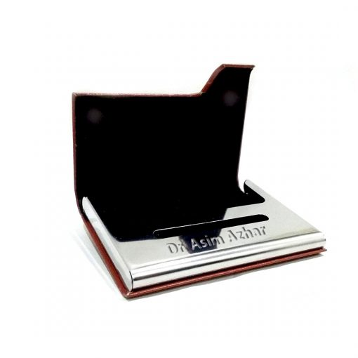 One Sided Leather Card Holder with name engraved onmetal