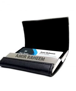 Double Sided Card Holder hold many cards with your name engraved on metal at front