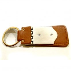 Back view of Key Blaster keychain made from premium leather