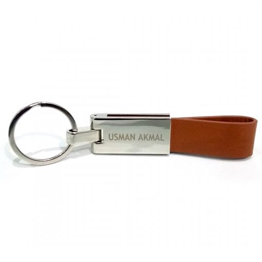 Extensive Leather Keychain is made from high quality leather with personalized name engraved on metal.